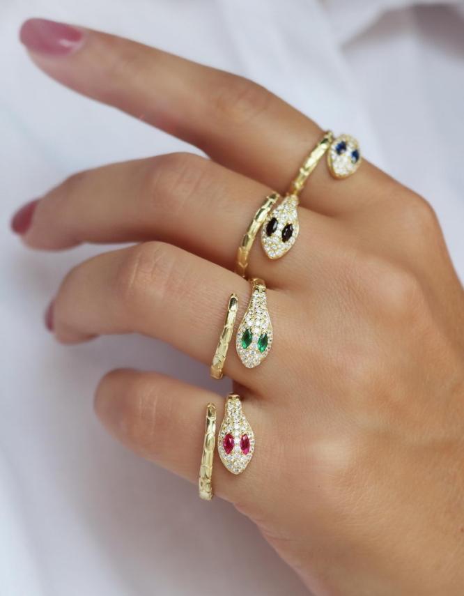 Φίδι Επίχρυσο Ασήμι 925 Δαχτυλίδι