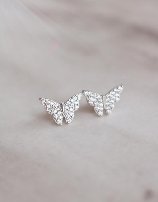 Πεταλούδα Ασήμι 925 Καρφωτά Σκουλαρίκια