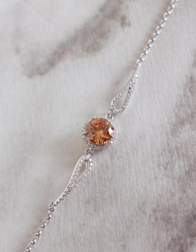Βικτώρια Ασήμι 925 Πορτοκαλί Βραχιόλι
