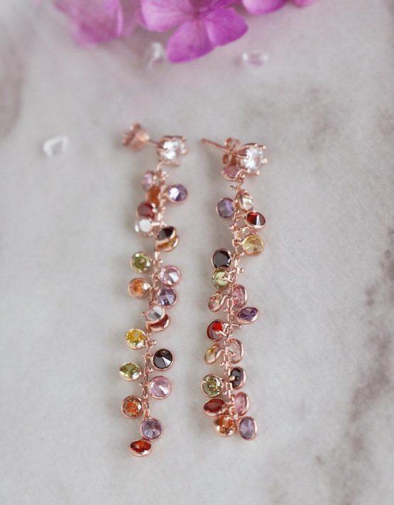 Βιέννη Ασήμι 925 Rose Gold Σκουλαρίκια (+Χρώματα)