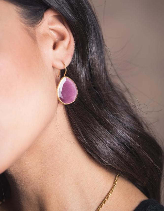 Ροζ Σταγόνα Επίχρυσο Ασήμι 925 Σκουλαρίκια