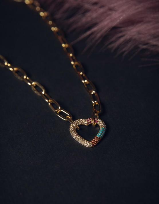 Πολύχρωμη Καρδιά Κολιέ