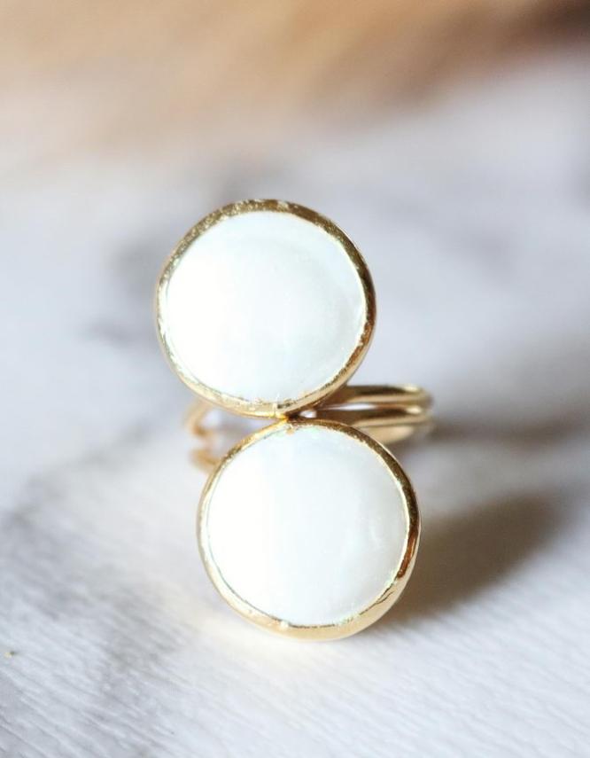 Λευκή Διπλή Πέρλα Δαχτυλίδι